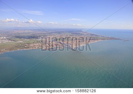 aerial view of tiber river delta and mediterranean sea in rome italy