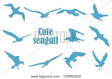 bird silhouettes on a white background isolation. He can enter as a background. Icons gulls.