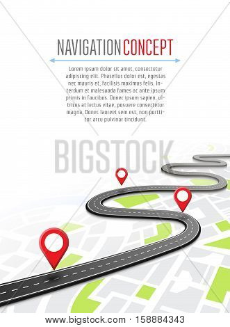 Navigation concept with pin pointer vector illustration. Map marker pointer on road map. GPS navigation system banner. Cartography mapping, ui pinning, discovery, geotag, tourism geolocation.