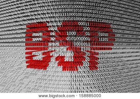 BSP in the form of binary code, 3D illustration