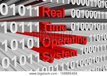 real time operating system in binary code, 3D illustration