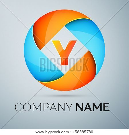 Letter Y vector logo symbol in the colorful circle. Vector template for your design