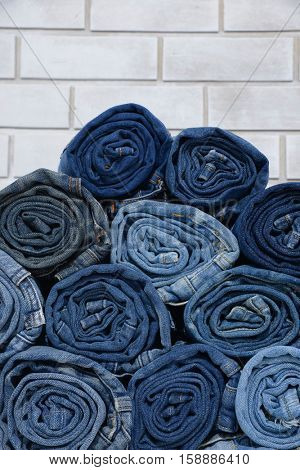 roll blue denim jeans