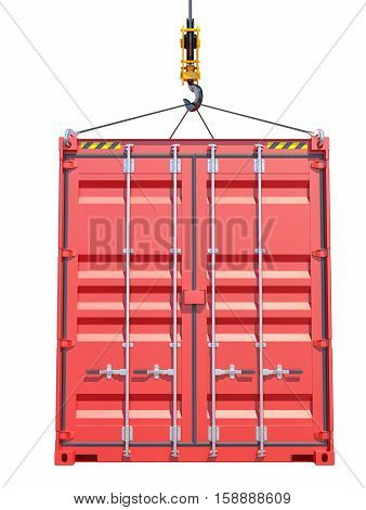 Shipping container. Crane hook. Side view. Isolated on white. 3D rendering