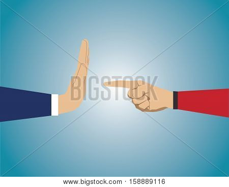Hand Pointing To Coworker. He Refuses Task. Concept Business Illustration. Vector Flat
