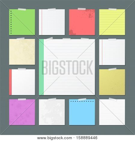Paper banners for notes. Square sheets of checkered and color paper attached with sticky tape isolated vector illustrations set. Torn notebook and copybook pages used as stickers on adhesive tape