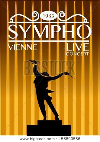 Vienna symphony orchestra live concert poster. Expressive conductor directs orchestra during performance silhouette vector illustration. For music festival advertising flyer or banner design