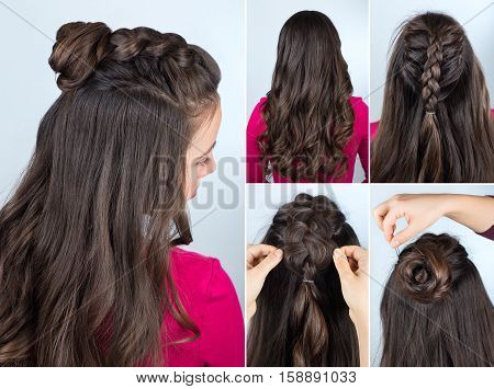 modern hairstyle twisted bun and braid with curly loose hair. Hairstyle tutorial for long curly hair. Hairstyle for party tutorial step by step