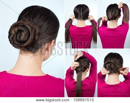 Hair tutorial step by step. Simple hairstyle twisted bun tutorial. Backstage technique of twist bun. Hairstyle for long hair