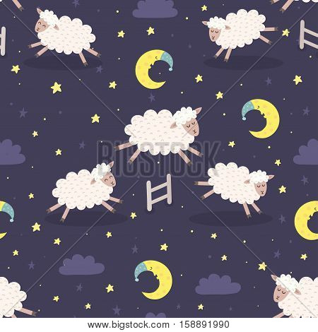 Good night seamless pattern with cute sheeps jumping over a fence. Sweet dreams background. Vector illustration