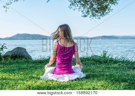 serenity and yoga practicing at the lake Balaton