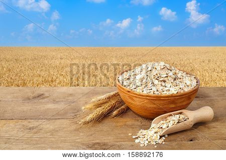 Oat flakes in bowl. Ears of oats and oatmeal in bowl on table with field on the background. Agriculture and harvest concept. Gold field and blue sky. Uncooked porridge