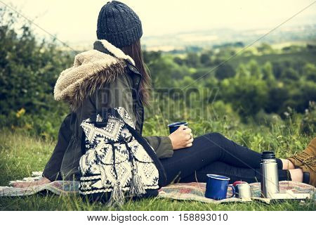 Woman Relaxation Coffee Drinks Picnic Vacation Concept