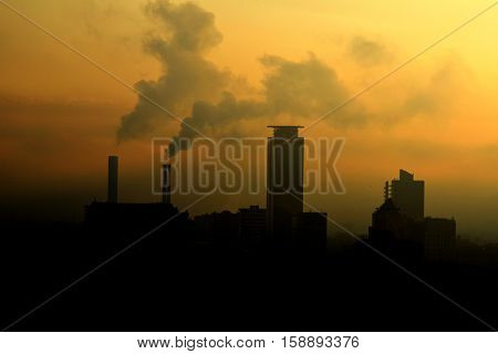 November 27 2016-Brescia-Lombardy-Italy - Panoramic view of the industrial city of Brescia and the environmental pollution produced by many industries in the area due to many cancerous diseases