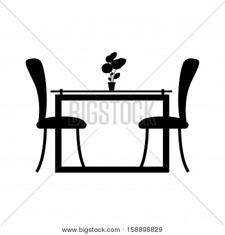 monochrome silhouette Dining room with two chairs vector illustration
