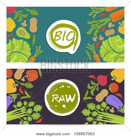 Eco products horizontal flyers set vector illustration. Vegetables background. Natural cabbage, tomato, radish, mushroom, peppers, potatoes, carrots. Vegetarian raw food, bio and eco nutrition