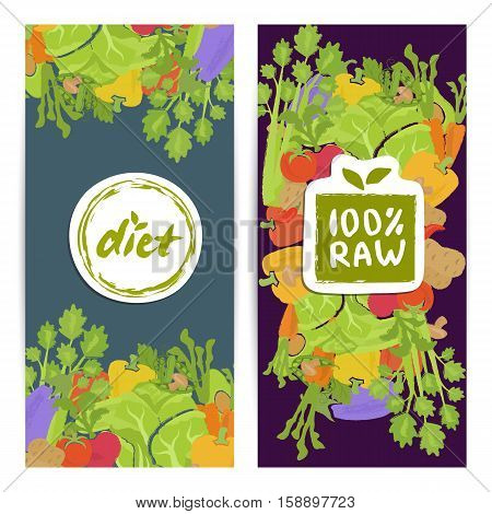 Raw food food vertical flyers set vector illustration. Colorful vegetables background. Natural cabbage, tomato, peppers, carrots. Vegetarian, gmo free, fresh and natural, vegan, raw food, gluten free