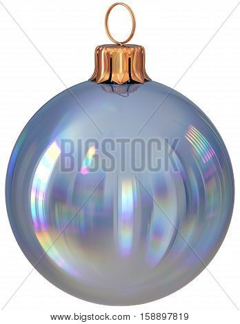 Christmas ball bauble silver New Year's Eve decoration shiny wintertime hanging adornment sphere souvenir white. Traditional ornament happy winter holidays Merry Xmas symbol closeup. 3d illustration