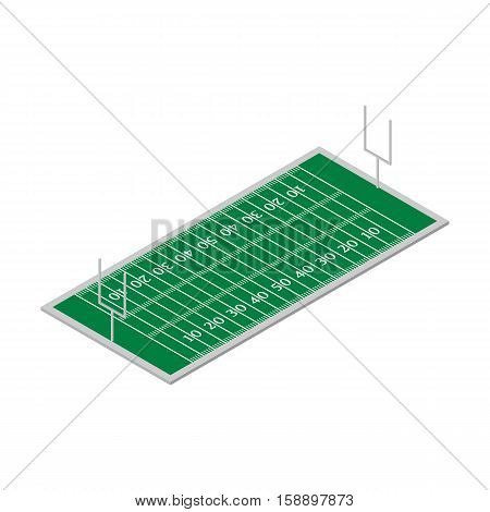 Field for play football with a markings and gates. Flat 3D isometric style vector illustration.