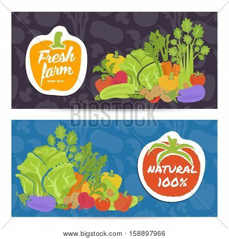Fresh farm food horizontal flyers set vector illustration. Natural vegetables, vegetarian organic farming, traditional food, locally grown, healthy diet, farm market, bio and eco nutrition concept