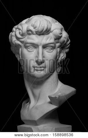 gypsum head of Michelangelo's David on a black backround