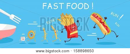 Fast food conceptual banner. Funny food products run from the plate. Fries, donuts, hot dog characters in cartoon style. Happy meal for children. For childish menu poster. Vector design illustration