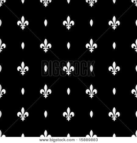 Vector repeating Fleur de Lys pattern. Swatch is included for easily creating large fills.