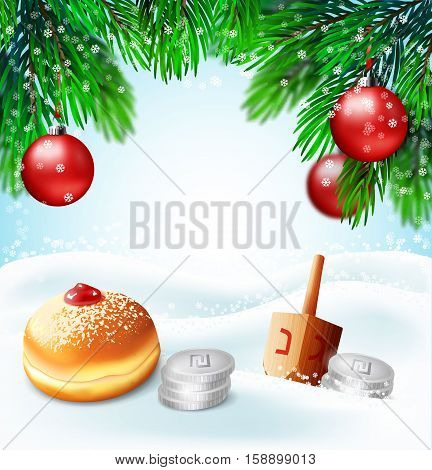 Winter holidays backgrounds.Vector illustration of (jewish holiday) Hanukkah and Christmas New year.