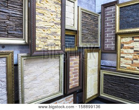 Abstract picture frames with stone brick textures inside