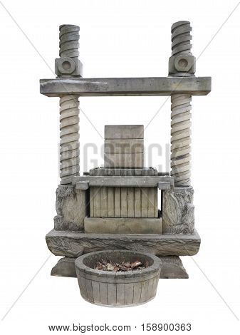 Ancient wine press old stone concept isolated on white background