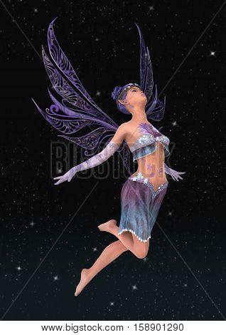 3D Rendering Purple Fairy