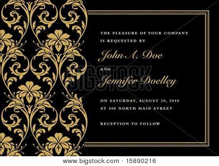 Vector gold frame with sample text. Perfect as invitation or announcement. Pattern is included as seamless swatch. All pieces are separate. Easy to change colors.