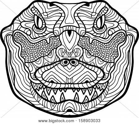 Ferocious crocodile is drawn by hand with ink.  Hand-drawn figure of a Ferocious crocodile on the white background. Line art design. Coloring book for adults. Zendoodle. Tribal patterns.