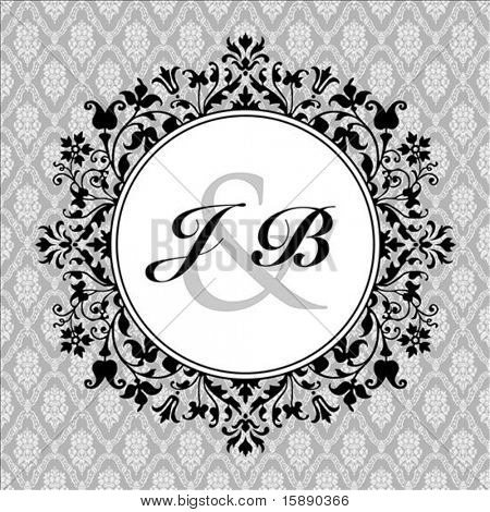 Vector circle floral and ornate frame with sample text and pattern. Perfect as invitation or announcement. Pattern is included as seamless swatch. All pieces are separate.