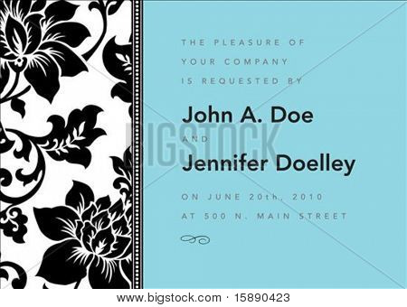 Vector modern floral frame. Perfect as invitation or announcement.  Pattern is included as seamless swatch. All pieces are separate. Easy to change colors and edit.