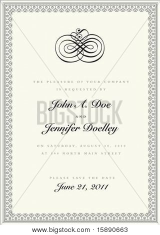 Vector ornate frame with sample text and borders. Perfect as invitation or announcement. All pieces are separate. Easy to change colors and edit.