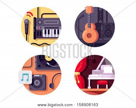 Music equipment and intstrument. Piano and synthesizer with microphones. Vector illustration