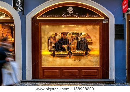 PRAGUE, CZECH REPUBLIC - DECEMBER 10, 2015: Frozen glass of Captain Candy  window - famous exclusive candy shop in Old Town. It is popular place with tourists visiting Prague.