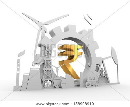 Energy and Power icons set on blueprint backdrop. Sustainable energy generation and heavy industry. 3D rendering. Golden material Rupee sign
