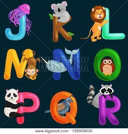 animals alphabet set for kids abc education in preschool.Cute animals letters english alphabet collection. Cartoon animals alphabet set for learning letters vector illustration