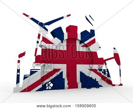 Energy and Power icons set with Britain flag. Sustainable energy generation and heavy industry. 3D rendering