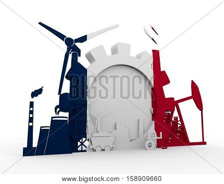 Energy and Power icons set with France flag. Sustainable energy generation and heavy industry. 3D rendering