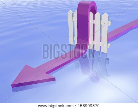 Violet arrow and fence on water reflective background 3D illustration.