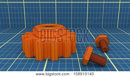 Industry theme relative abstract background concept. Blue print backdrop. Wire frame gear and bolts. 3D rendering