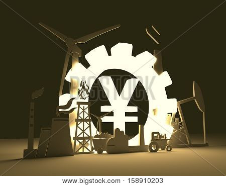 Energy and Power icons set on blueprint backdrop. Sustainable energy generation and heavy industry. 3D rendering. Luminous Yen sign