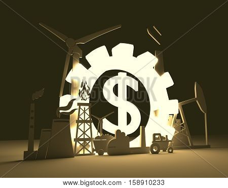 Energy and Power icons set on blueprint backdrop. Sustainable energy generation and heavy industry. 3D rendering. Luminous Dollar sign