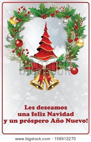 Spanish seasons greetings - card for New Year (Les deseamos Feliz Navidad y Feliz Ano Nuevo) - We wish you Merry Christmas and Happy New Year. Print colors used. Size of a custom greeting card