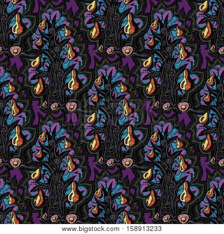 floral seamless fairy pattern.Exotic flowers, leaves.Dark indigo blue contour thin drawing.