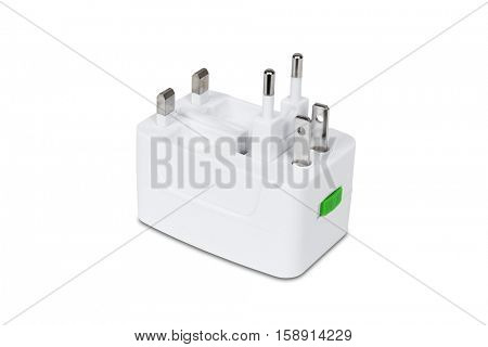 Universal travel adapter plug isolated on white with clipping path.