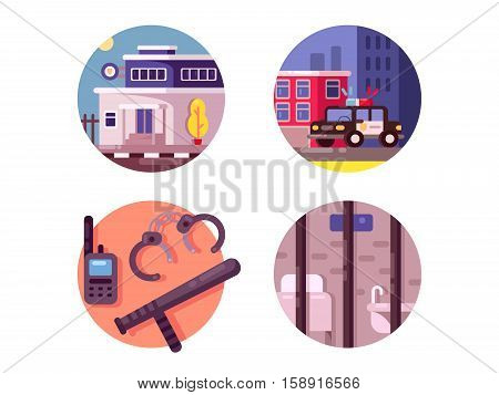 Police department building. Cars with flashing lights and prison. Vector illustration